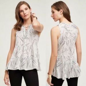 Anthropologie Floreat Tired Striped Printed Top S